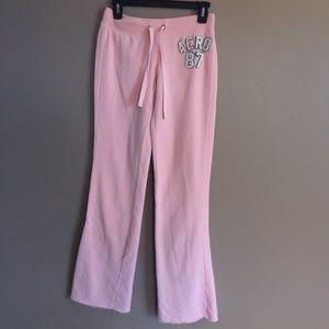 Aeropostale rose pink draw string logo sweatpants